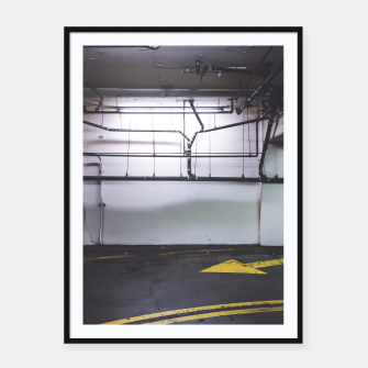 Thumbnail image of parking lot with the yellow arrow and tubes Framed poster, Live Heroes