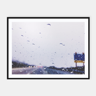 Thumbnail image of on the road with the rain storm Framed poster, Live Heroes