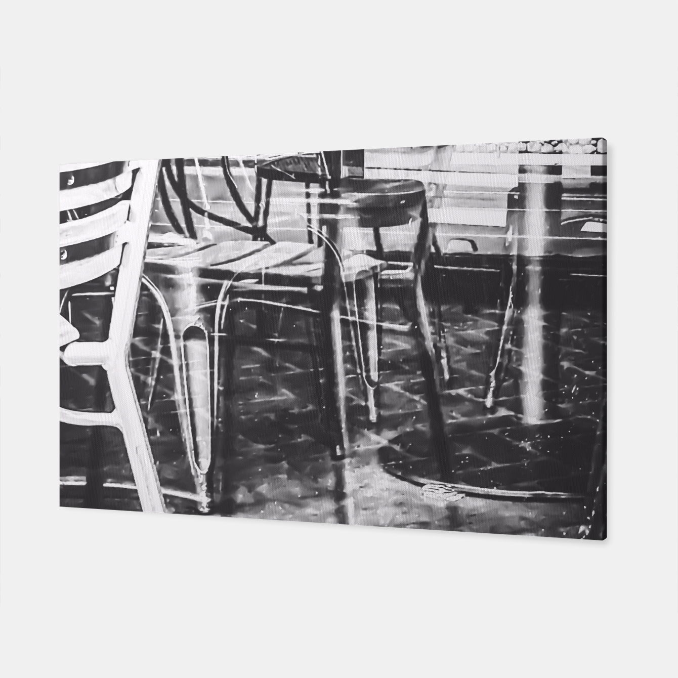 Image of outdoor chairs in the city in black and white Canvas - Live Heroes
