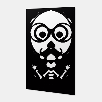 Thumbnail image of old skinny skull and bone with glasses in black and white Canvas, Live Heroes