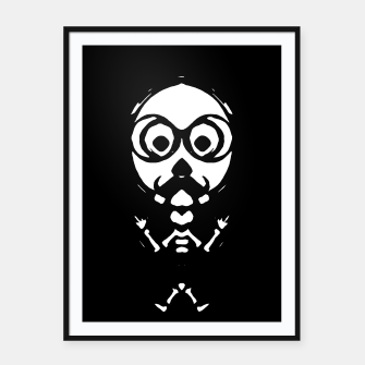 Thumbnail image of old skinny skull and bone with glasses in black and white Framed poster, Live Heroes
