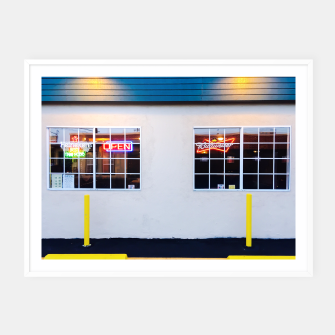 Thumbnail image of windows of the bar and restaurant in Los Angeles, USA Framed poster, Live Heroes