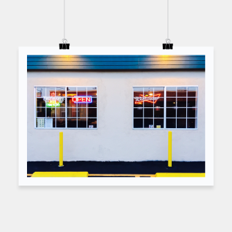 Miniatur windows of the bar and restaurant in Los Angeles, USA Poster, Live Heroes
