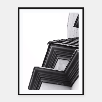 Thumbnail image of buildings in the city in black and white Framed poster, Live Heroes