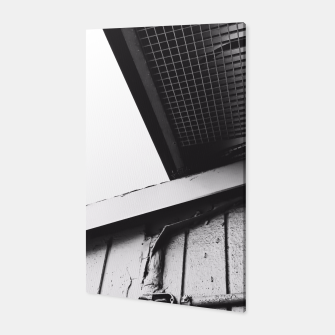 Thumbnail image of wood building in the city in black and white Canvas, Live Heroes