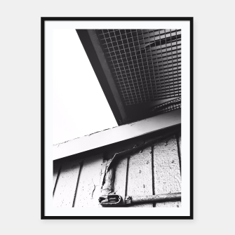 Thumbnail image of wood building in the city in black and white Framed poster, Live Heroes