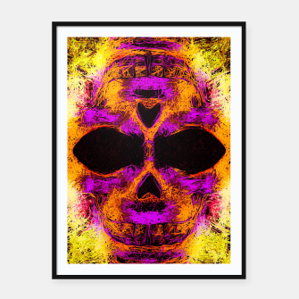 Thumbnail image of psychedelic angry skull portrait in pink orange yellow Framed poster, Live Heroes