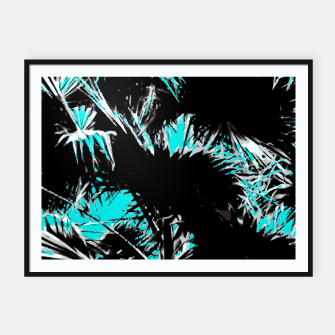 Thumbnail image of palm leaf abstract with blue background Framed poster, Live Heroes