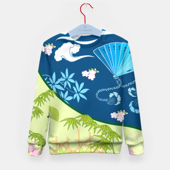 Thumbnail image of Blue&green - Japanese Kimono design Kid's Sweater, Live Heroes