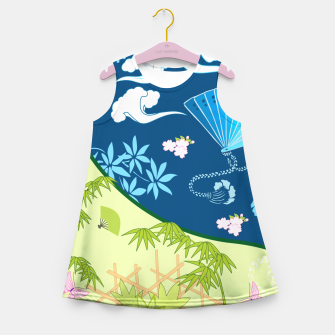 Thumbnail image of Blue&green - Japanese Kimono design Girl's Summer Dress, Live Heroes