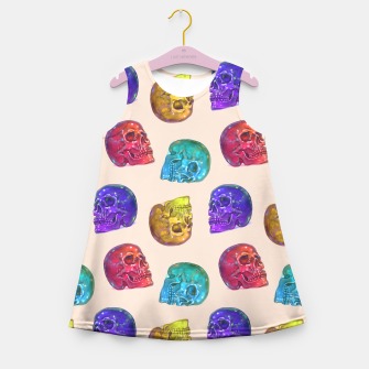 Thumbnail image of Rainbow Crystal Jelly Tasty Skulls Pattern Girl's Summer Dress, Live Heroes