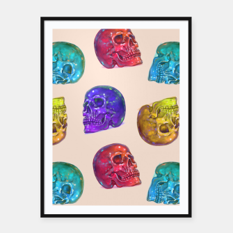 Thumbnail image of Rainbow Crystal Jelly Tasty Skulls Pattern Framed poster, Live Heroes