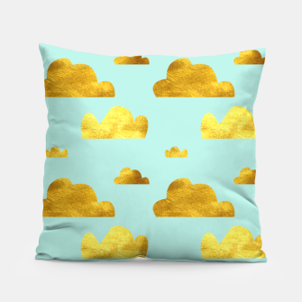 Thumbnail image of Gold clouds blue Pillow, Live Heroes