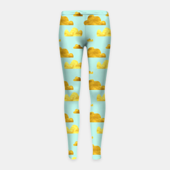 Thumbnail image of Gold clouds blue Girl's Leggings, Live Heroes