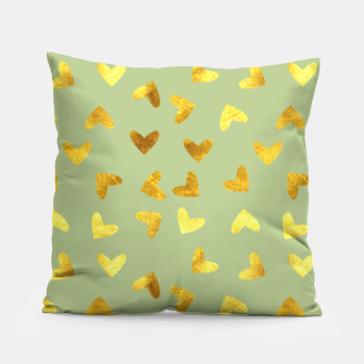 Thumbnail image of Gold Clouds green Pillow, Live Heroes