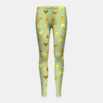 Thumbnail image of Gold Clouds green Girl's Leggings, Live Heroes