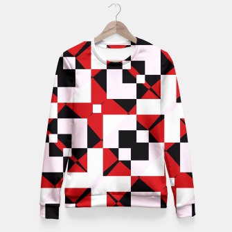 Thumbnail image of Red white and black abstract Fitted Waist Sweater, Live Heroes
