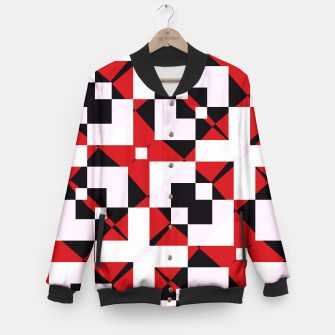 Thumbnail image of Red white and black abstract Baseball Jacket, Live Heroes