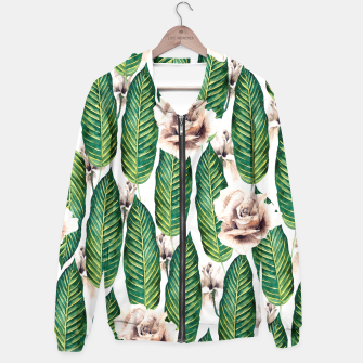 Thumbnail image of Tropical leaves and white roses Sudadera con capucha, Live Heroes
