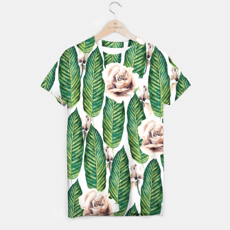 Miniature de image de Tropical leaves and white roses Camiseta, Live Heroes