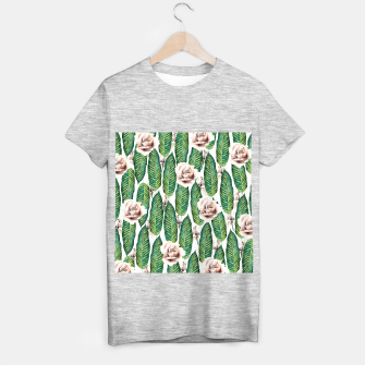 Thumbnail image of Tropical leaves and white roses Camiseta Regular, Live Heroes