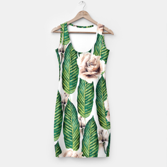 Thumbnail image of Tropical leaves and white roses Vestido, Live Heroes