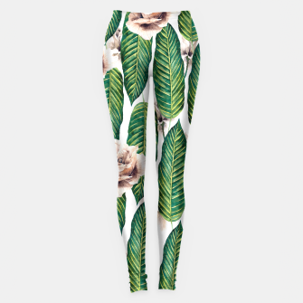 Thumbnail image of Tropical leaves and white roses Leggings, Live Heroes