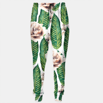Thumbnail image of Tropical leaves and white roses Pantalones de chándal, Live Heroes