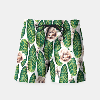 Thumbnail image of Tropical leaves and white roses Pantalones de baño, Live Heroes