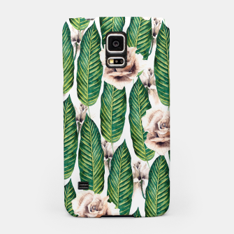 Thumbnail image of Tropical leaves and white roses Carcasa por Samsung, Live Heroes