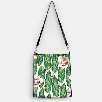 Thumbnail image of Tropical leaves and white roses Bolso, Live Heroes
