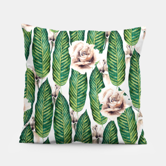 Thumbnail image of Tropical leaves and white roses Almohada, Live Heroes