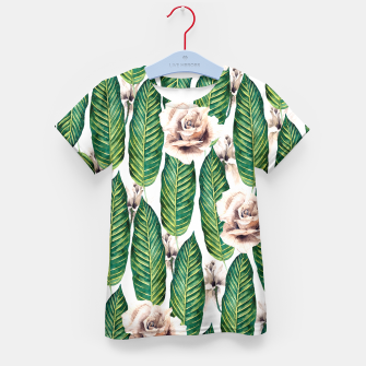 Thumbnail image of Tropical leaves and white roses Camiseta para niños, Live Heroes