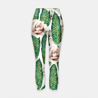 Thumbnail image of Tropical leaves and white roses Leggings de yoga, Live Heroes