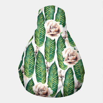 Thumbnail image of Tropical leaves and white roses Puf, Live Heroes