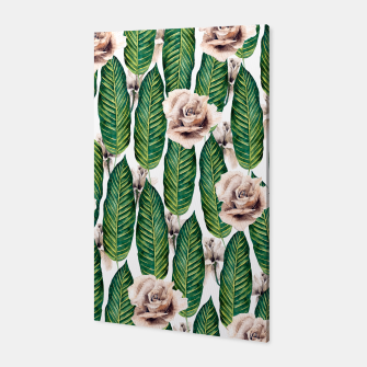 Thumbnail image of Tropical leaves and white roses Canvas, Live Heroes