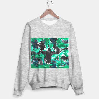 Thumbnail image of psychedelic vintage camouflage painting texture abstract in green and black Sweater regular, Live Heroes