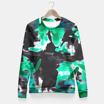 Thumbnail image of psychedelic vintage camouflage painting texture abstract in green and black Fitted Waist Sweater, Live Heroes