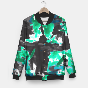 Thumbnail image of psychedelic vintage camouflage painting texture abstract in green and black Baseball Jacket, Live Heroes