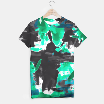 Thumbnail image of psychedelic vintage camouflage painting texture abstract in green and black T-shirt, Live Heroes