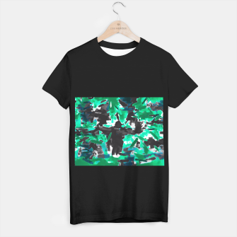 Thumbnail image of psychedelic vintage camouflage painting texture abstract in green and black T-shirt regular, Live Heroes
