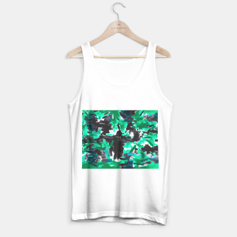 Thumbnail image of psychedelic vintage camouflage painting texture abstract in green and black Tank Top regular, Live Heroes