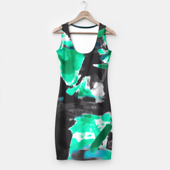 Thumbnail image of psychedelic vintage camouflage painting texture abstract in green and black Simple Dress, Live Heroes