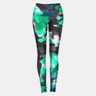 Thumbnail image of psychedelic vintage camouflage painting texture abstract in green and black Leggings, Live Heroes