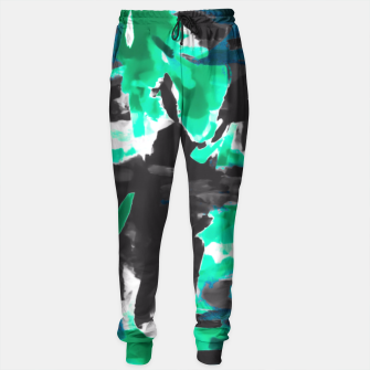 Thumbnail image of psychedelic vintage camouflage painting texture abstract in green and black Sweatpants, Live Heroes