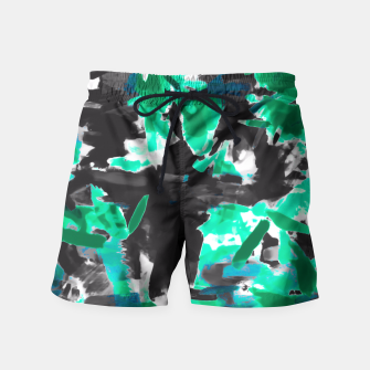 Thumbnail image of psychedelic vintage camouflage painting texture abstract in green and black Swim Shorts, Live Heroes