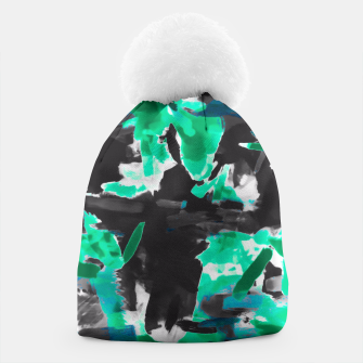 Thumbnail image of psychedelic vintage camouflage painting texture abstract in green and black Beanie, Live Heroes