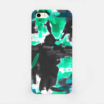 Thumbnail image of psychedelic vintage camouflage painting texture abstract in green and black iPhone Case, Live Heroes