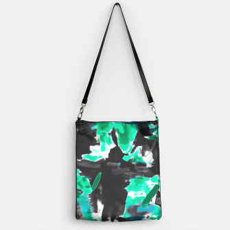 Thumbnail image of psychedelic vintage camouflage painting texture abstract in green and black Handbag, Live Heroes