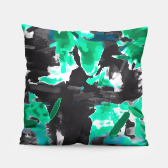 Thumbnail image of psychedelic vintage camouflage painting texture abstract in green and black Pillow, Live Heroes